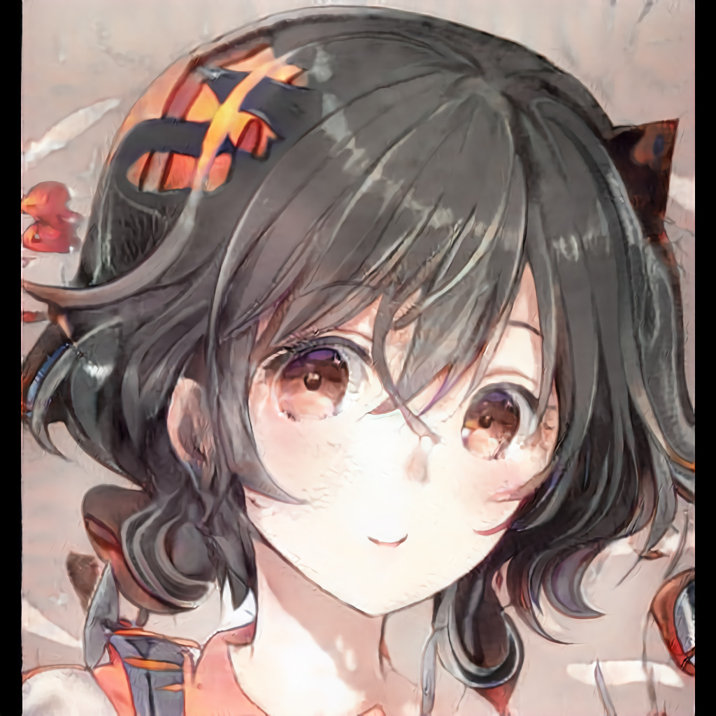 Example anime portrait generated by StyleGAN 2